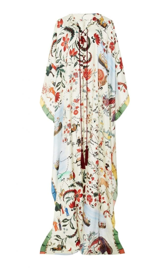 8e002407d21f1 OSCAR DE LA RENTA Silk Satin Kaftan Multi   Printed Dress