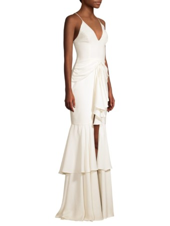 PATBO Bo Ruffle Hem Plunging Maxi White Dress