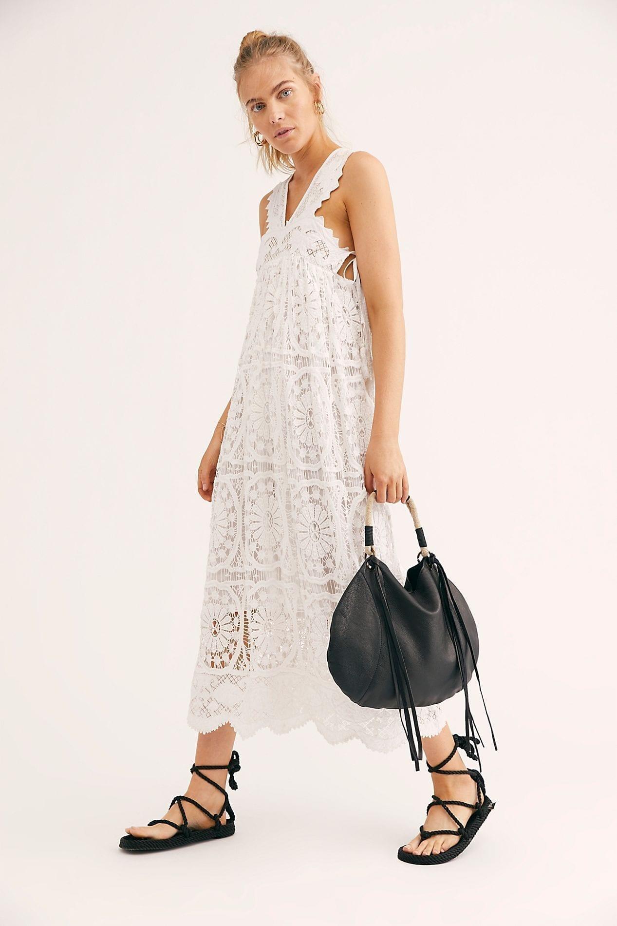 PLACE NATIONALE Foix Lace Maxi White Dress