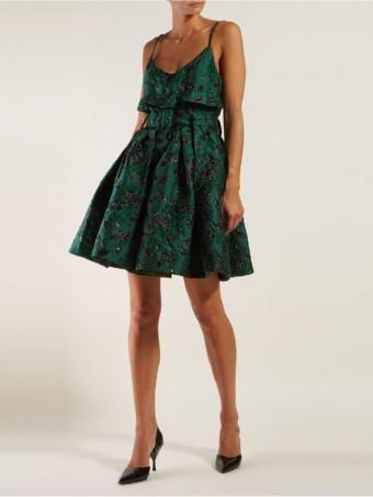PRADA Belted Satin Brocade Mini Green Dress
