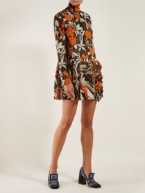 PRADA Roll-neck Mini Orange / Floral Printed Dress