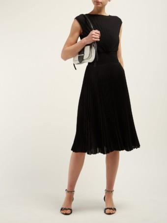 PRADA Sable Sunray Pleated Crepe Midi Black Dress