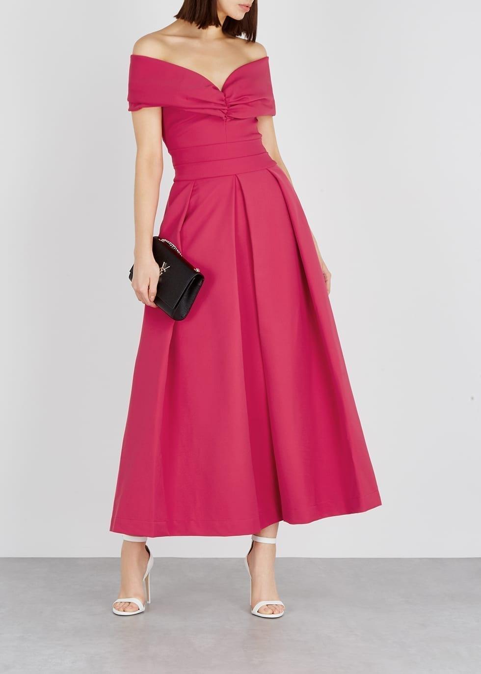 PREEN BY THORNTON BREGAZZI Daniela Ruched Maxi Pink Dress