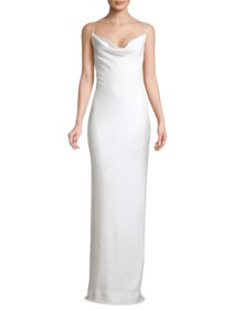 RACHEL ZOE Bell Cowlneck Open Back White Dress