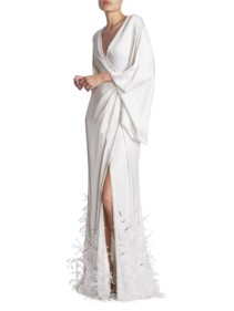 RALPH AND RUSSO Satin & Ostrich Feather Faux-Wrap White Gown