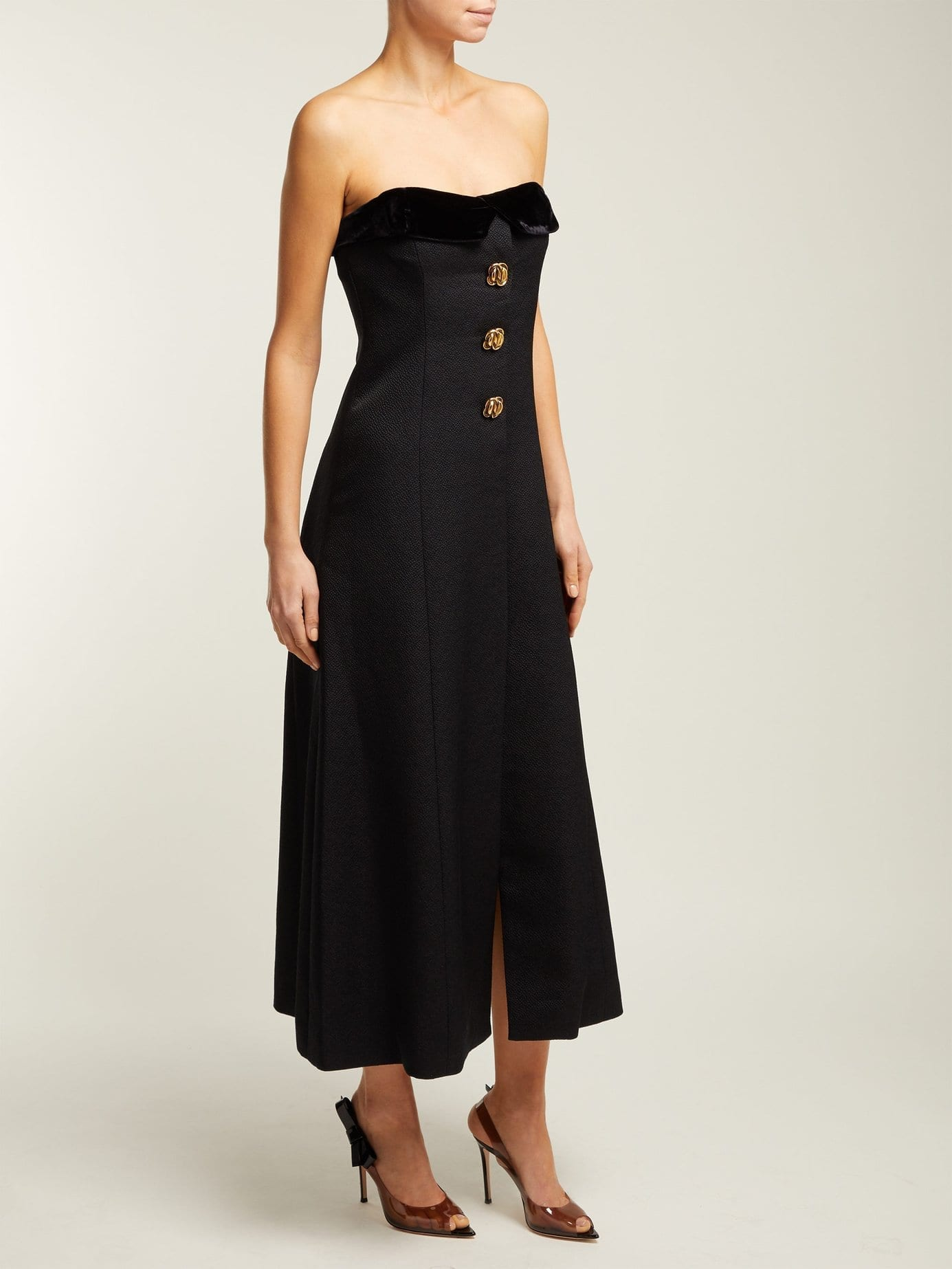 REBECCA DE RAVENEL Strapless Silk And Wool-blend Midi Black Dress