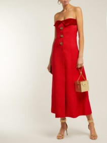 REBECCA DE RAVENEL Strapless Silk And Wool-blend Midi Red Dress