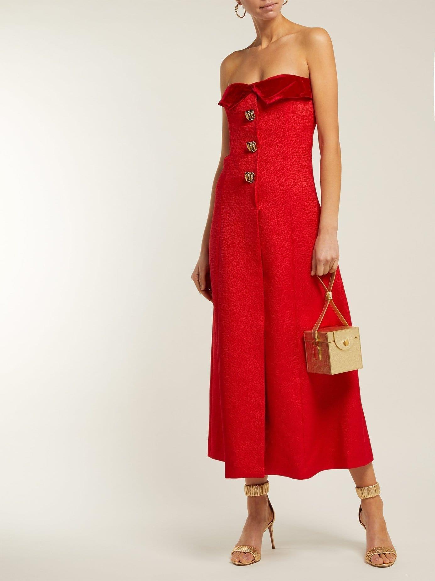 REBECCA DE RAVENEL Strapless Silk And Wool-blend Midi Red Dress
