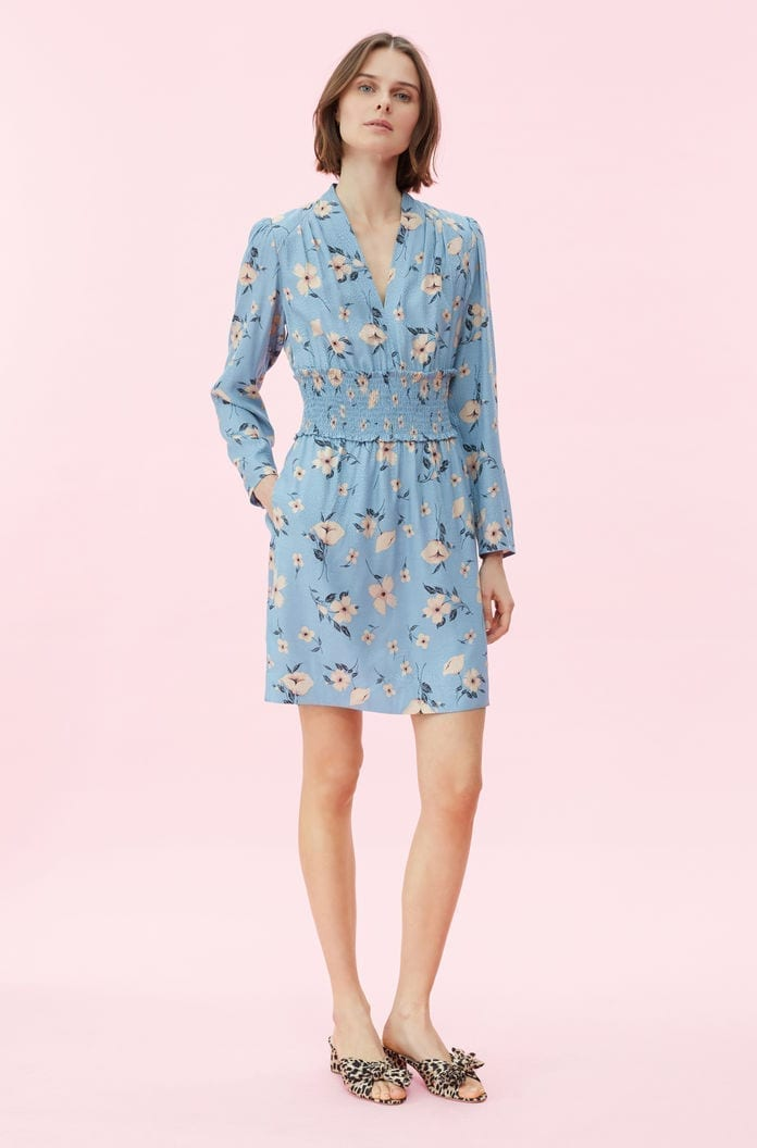 0d4b8ba5832 REBECCA TAYLOR Daniella Floral V-neck Blue Dress - We Select Dresses