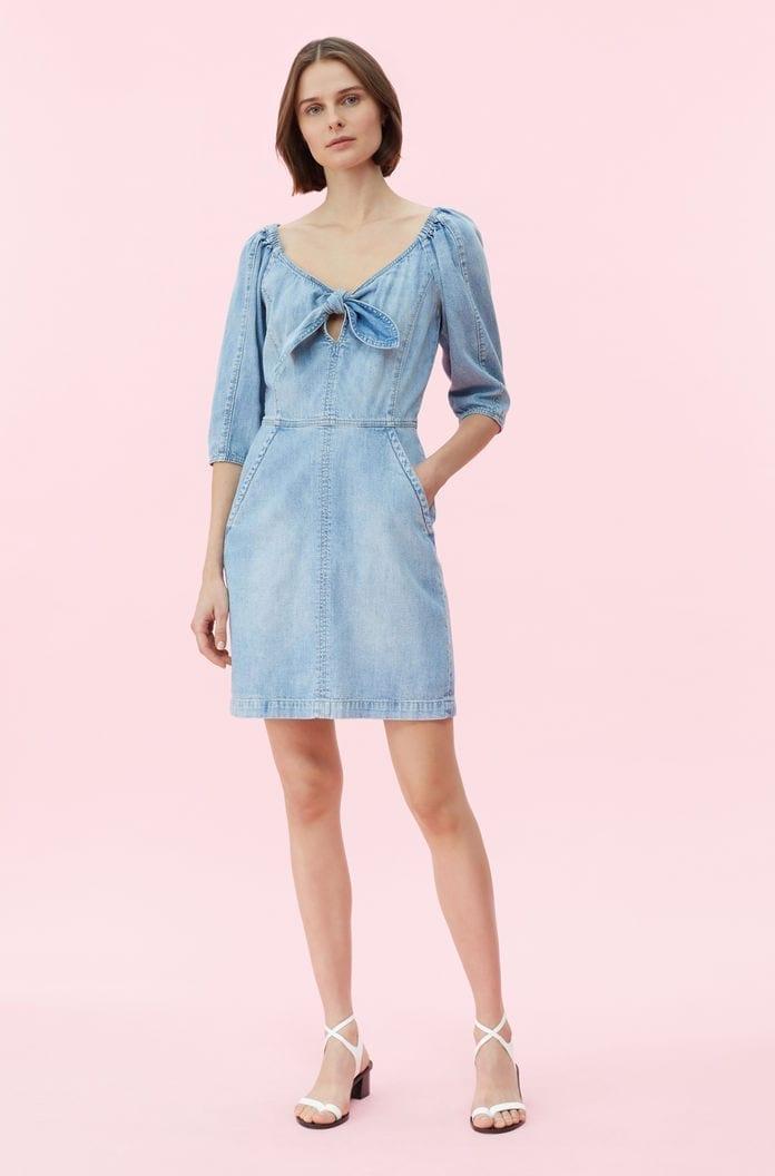 REBECCA TAYLOR La Vie Drapey Denim Blue Dress