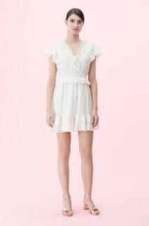 REBECCA TAYLOR Lurex Stripe V-neck White Dress