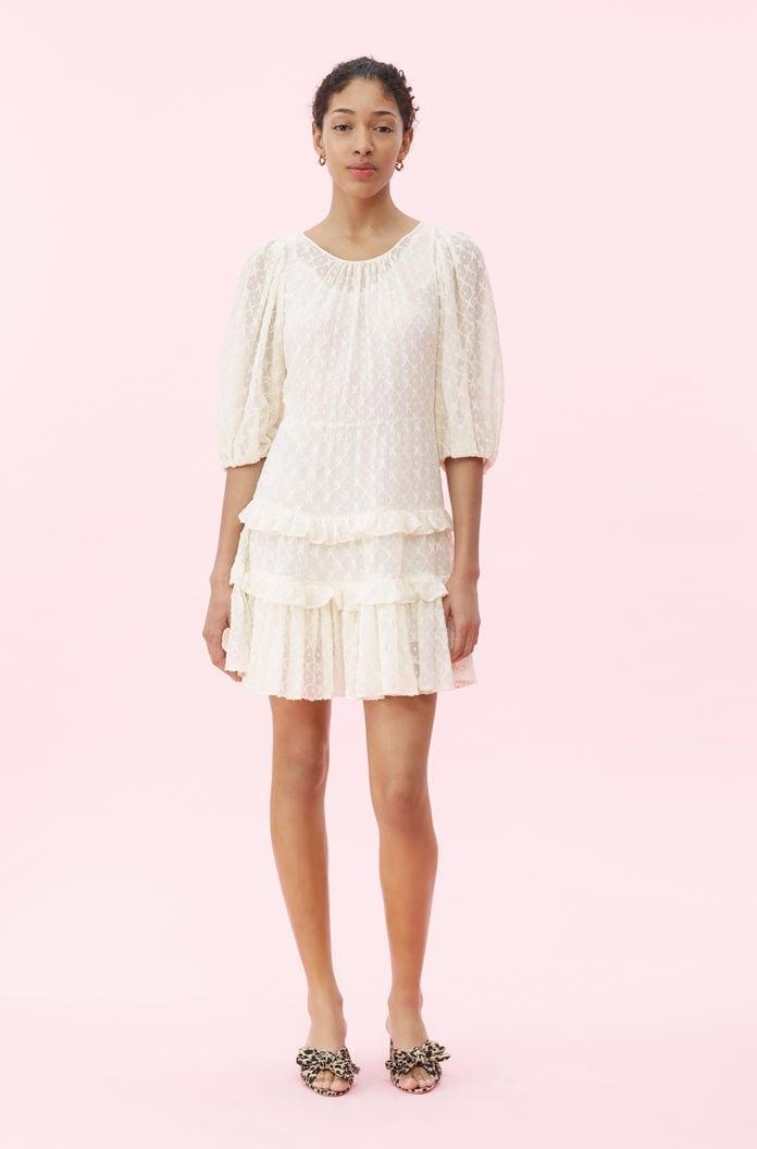 REBECCA TAYLOR Michelle Embroidered Cream Dress