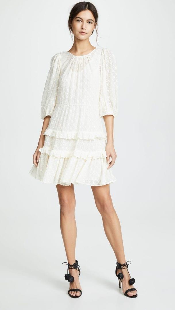 REBECCA TAYLOR Michelle Embroidery Cream Dress