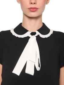 RED VALENTINO Contrasting Bow Crepe Mini Black / White Dress