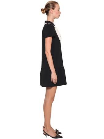 RED VALENTINO Contrasting Bow Crepe Mini Black / White Dress