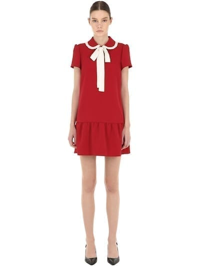 RED VALENTINO Contrasting Bow Crepe Mini Red / White Dress
