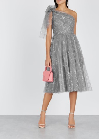 RED VALENTINO Glittered Polka-dot Tulle Grey Dress