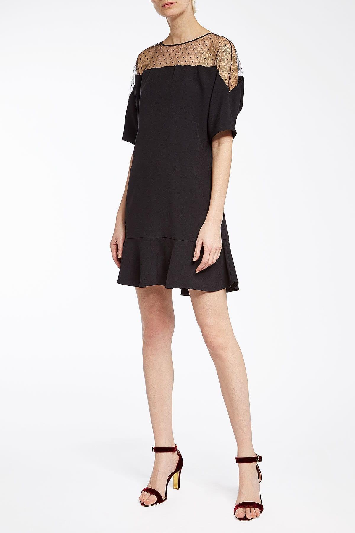 Red Valentino Point Desprit Mini Black Dress