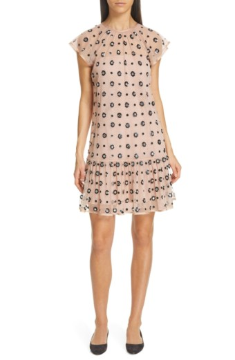 RED VALENTINO Sequin Drop Waist Nudo / Floral Printed Dress
