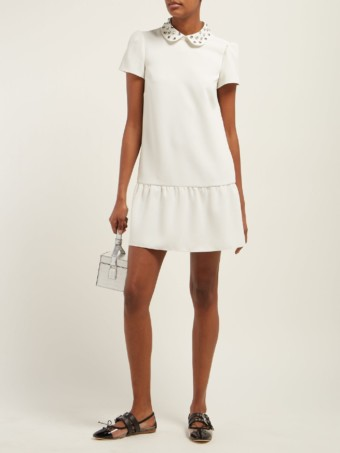 REDVALENTINO Crystal-embellished Crepe Midi White Dress