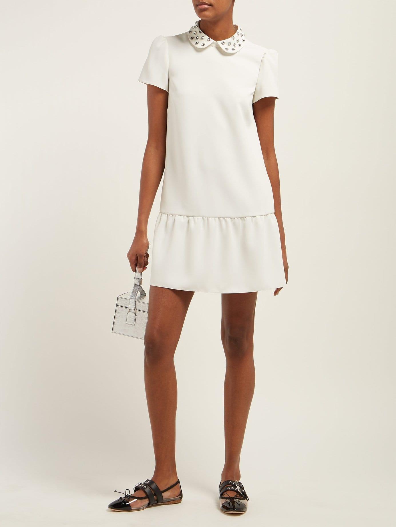 7bad0cbcef REDVALENTINO Crystal-embellished Crepe Midi White Dress - We Select ...