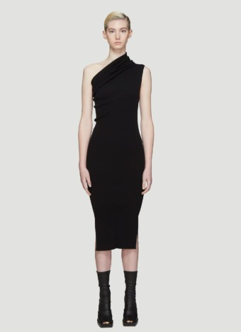 RICK OWENS One Shoulder Black Dress
