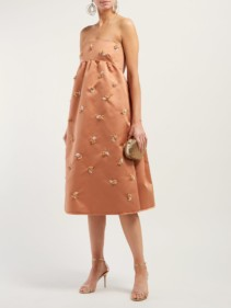 ROCHAS Floral Sequinned Satin Pink Dress
