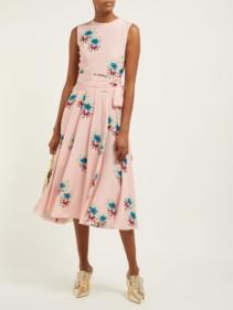 ROCHAS Silk Crepe De Chine Midi Pink / Floral Printed Dress