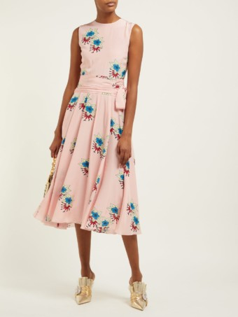 ROCHAS Silk Crepe De Chine Midi Pink / Floral Printed Dress