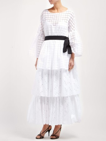 ROCHAS Tiered Cotton Broderie-anglaise White Dress