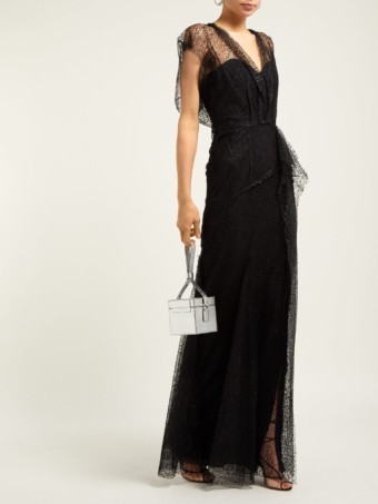 ROLAND MOURET Hiscot Polka-dot Tulle Black Gown
