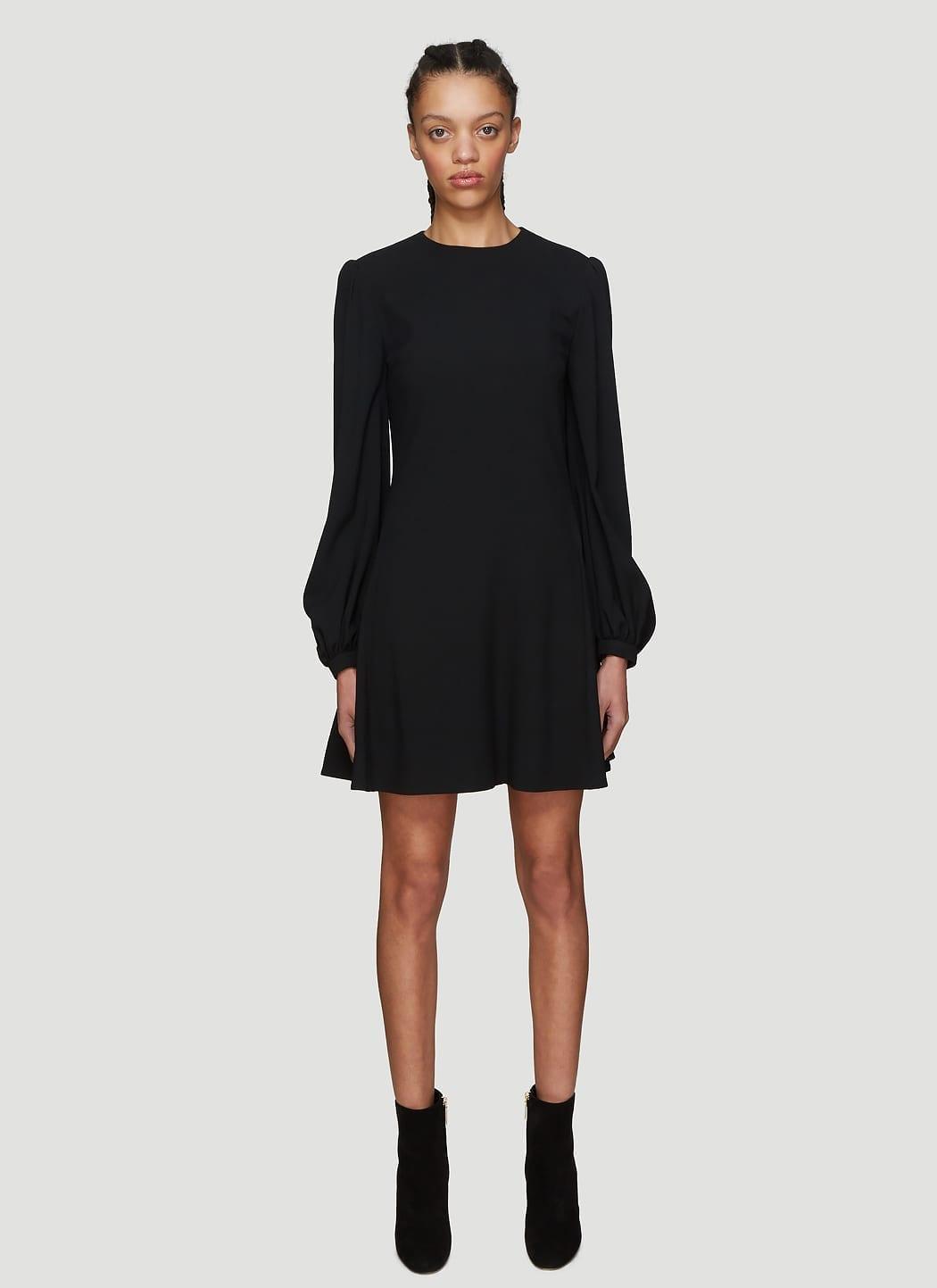 SAINT LAURENT Bishop Sleeve Black Dress