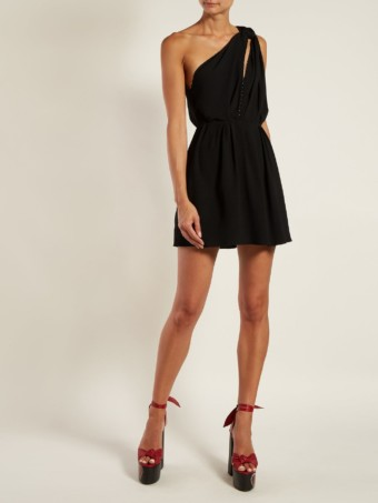 SAINT LAURENT Knot-shoulder Draped Mini Black Dress