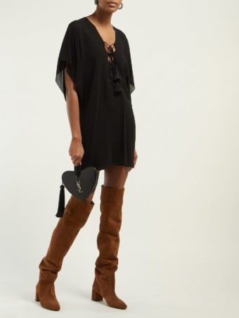 SAINT LAURENT Laced Crepe Mini Black Dress