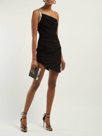 SAINT LAURENT One-shoulder Ruched Crepe Mini Black Dress