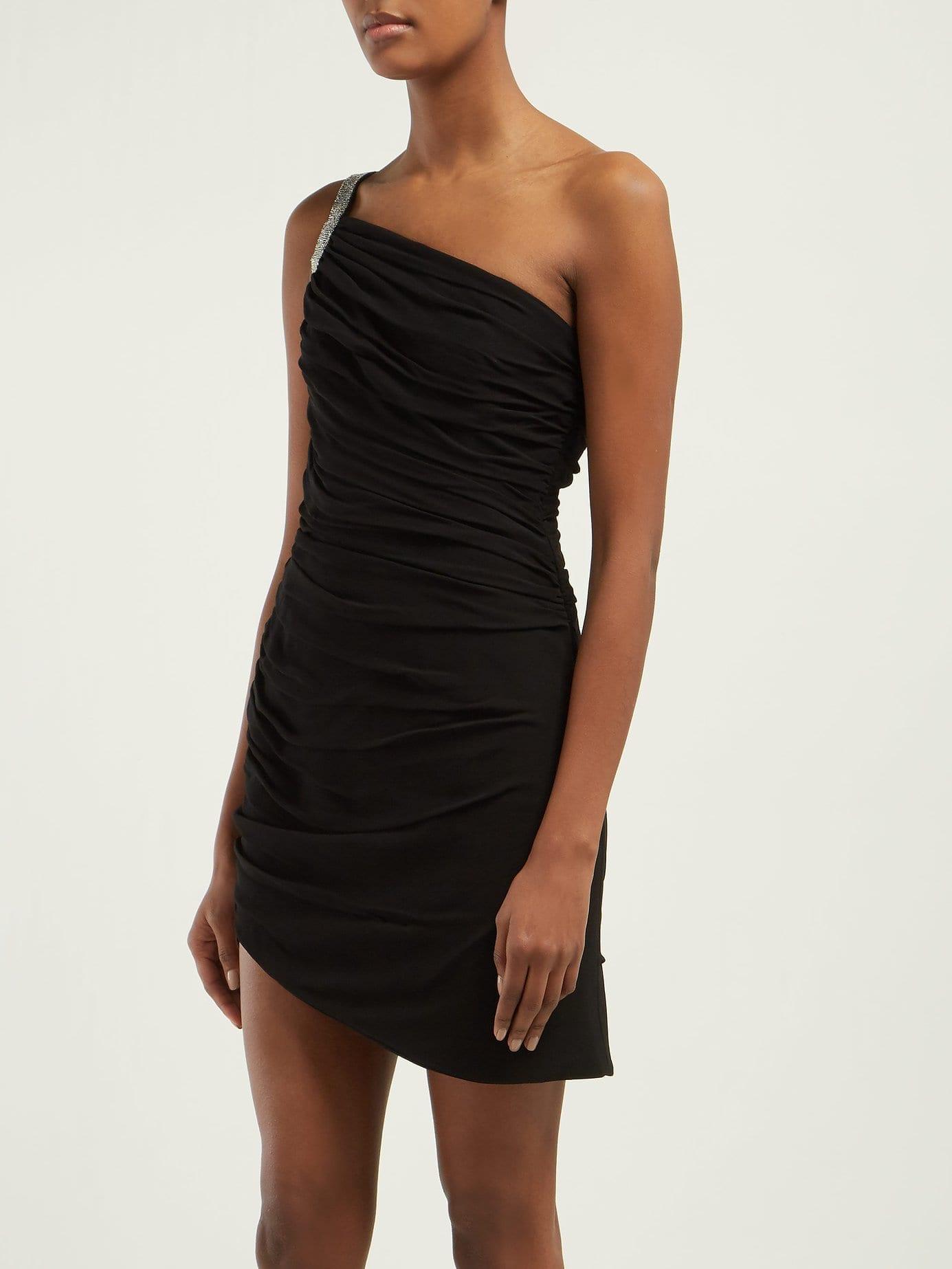b708143c198 SAINT LAURENT One-shoulder Ruched Crepe Mini Black Dress - We Select ...