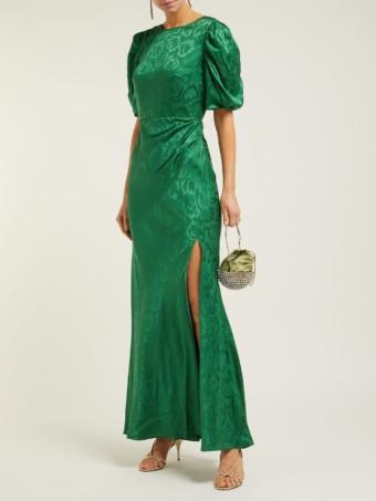 SALONI Annie B Snake Jacquard Silk Green Gown