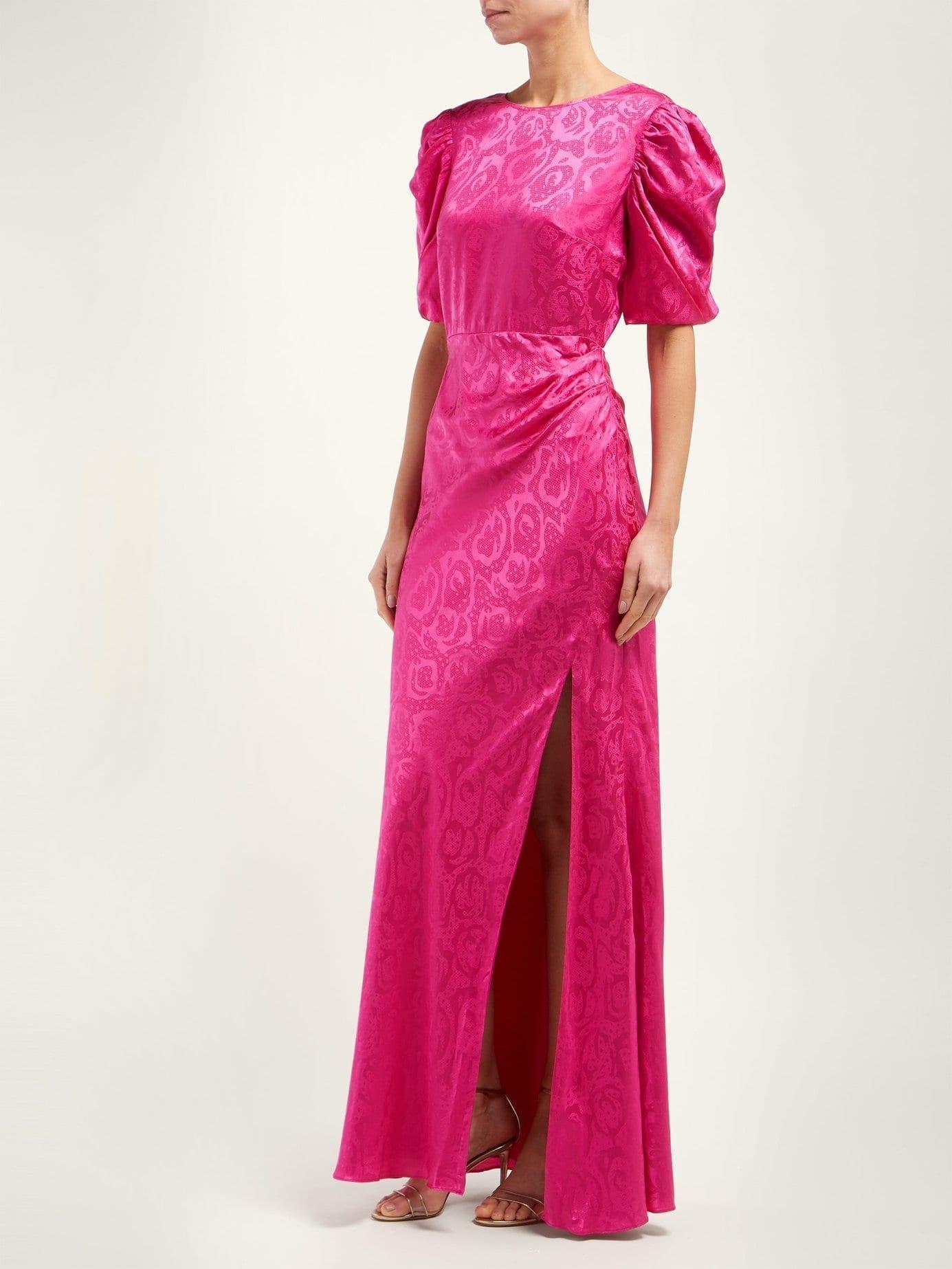 SALONI Annie B Snake-jacquard Silk Pink Gown