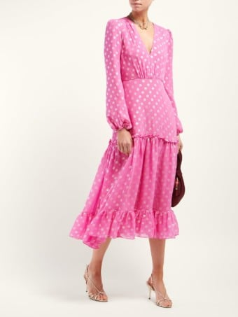SALONI Devon Polka Dot-jacquard Silk-blend Pink Dress