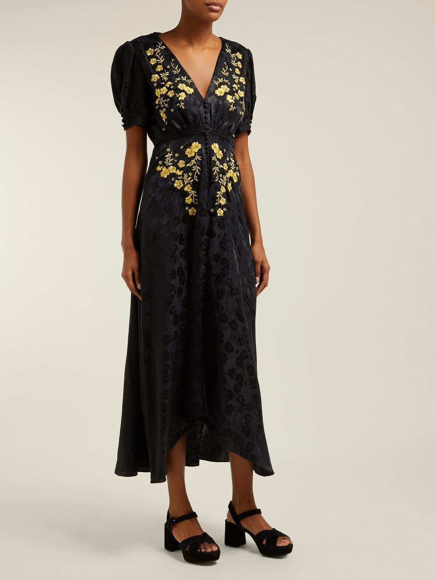 SALONI Lea Floral-embroidered Silk Black Dress