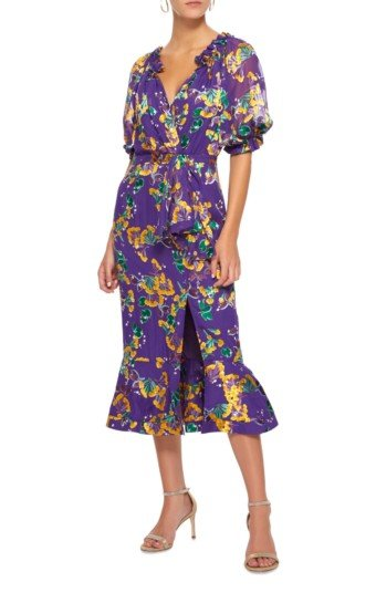 SALONI Olivia Ruffled Silk-Chiffon Midi Purple / Floral Printed Dress