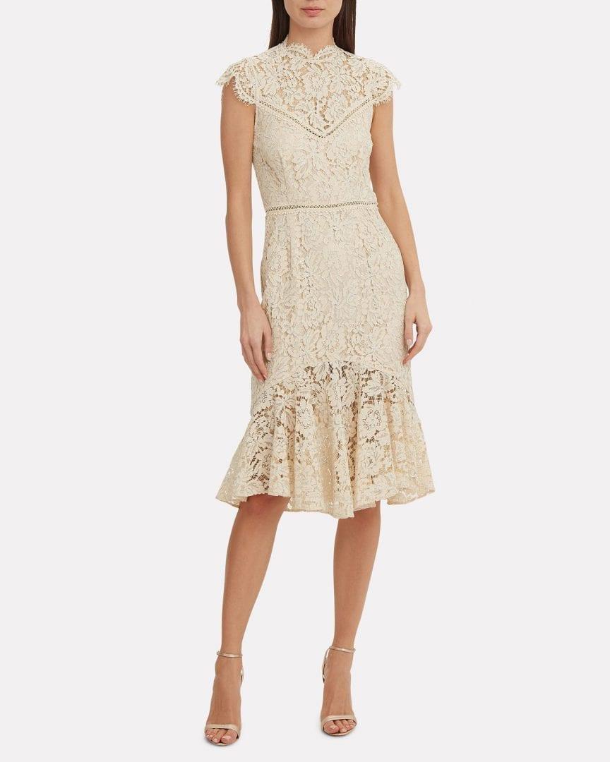 SAYLOR Iva Lace Light Beige Dress