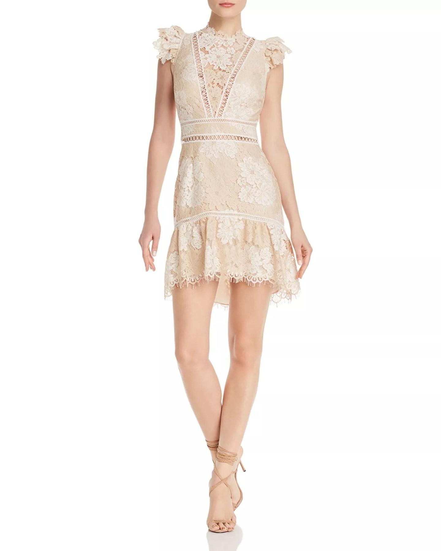 SAYLOR Lace Open-Back Nude Dress