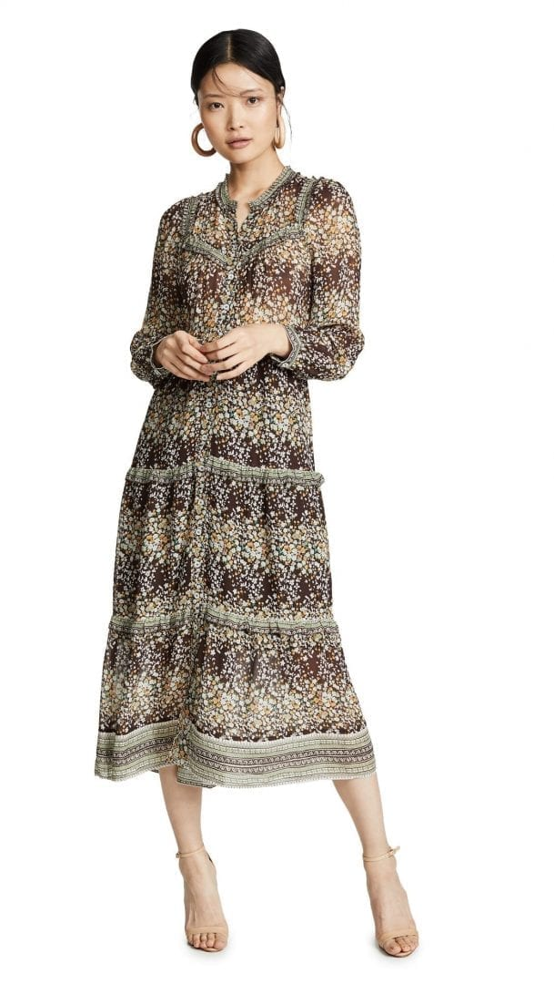 SEA Maya Long Sleeve Midi Brown Dress