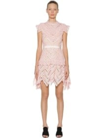 SELF-PORTRAIT Abstract Triangle Lace Mini Pink Dress