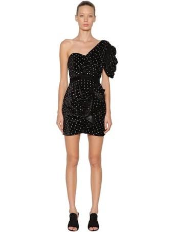 SELF-PORTRAIT Embellished Velvet Mini Black Dress