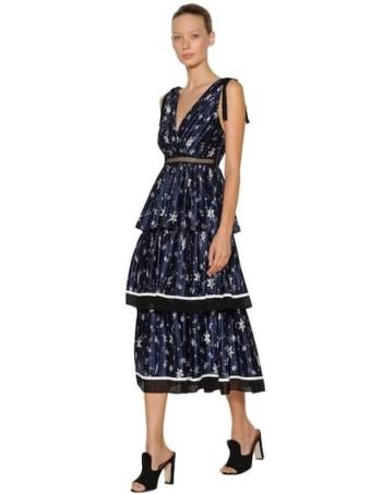 SELF-PORTRAIT Printed Star Satin Midi Navy Dress