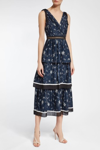 SELF-PORTRAIT Satin Midi Blue / Printed Dress