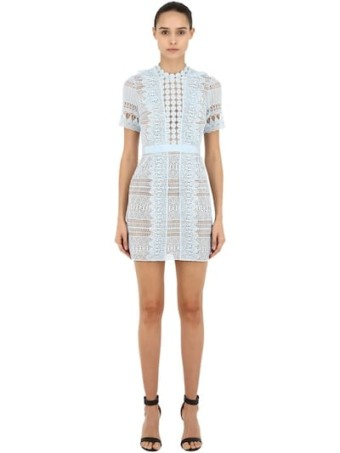 SELF-PORTRAIT Spiral Lace Mini Light Blue Dress