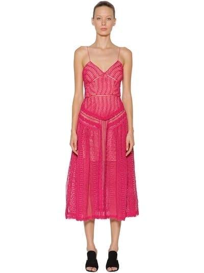 SELF-PORTRAIT Spiral Lace Panel Fuchsia Dress